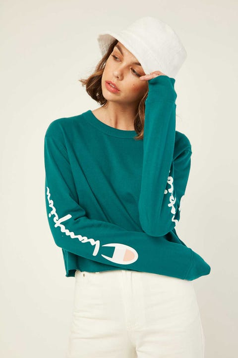 Champion Cropped Long Sleeve BF Tee Gem Jade