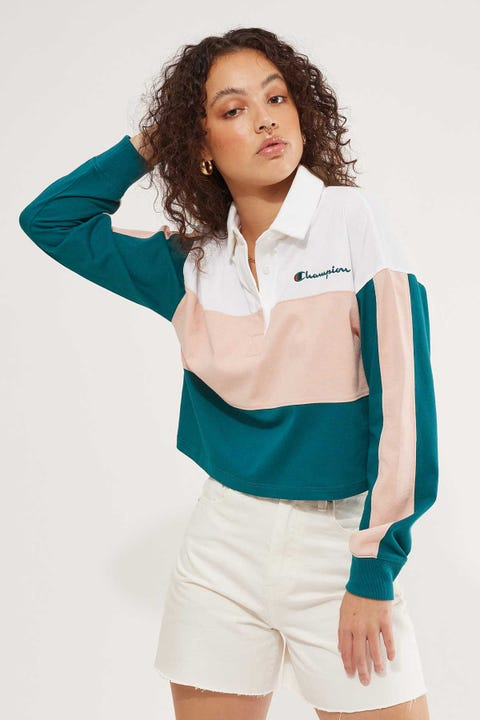 Champion Rugby Polo Gem Jade/ Blushing Peach