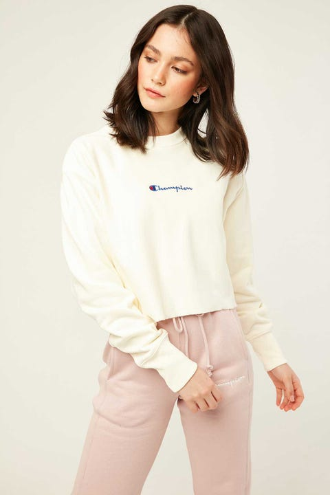 Champion Reverse Weave Crop Terry Crew Chalk White