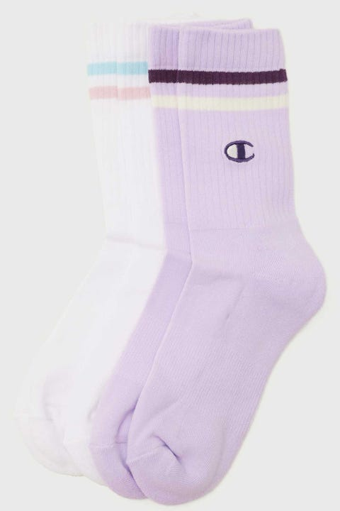 Champion Branded C Crew 2Pk White/Lilac Wash