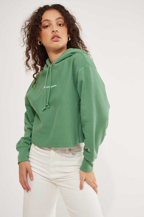 Champion Reverse Weave Crop Terry Hood Thermal Green
