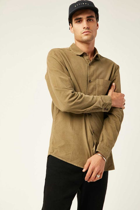 Thrills Stranded Cord LS Shirt Wolf