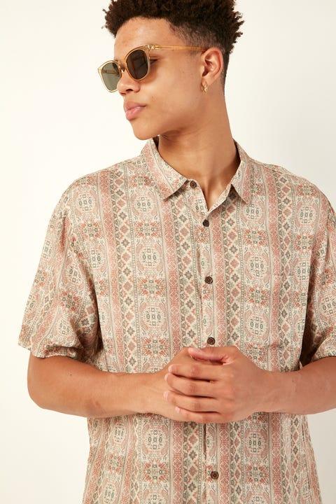 COMMON NEED Nigiri Party Shirt Mint/Sand/Burgundy