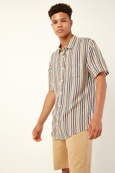 COMMON NEED Jazz Vertical Stripe Shirt Ecru/Navy/Gold/Red