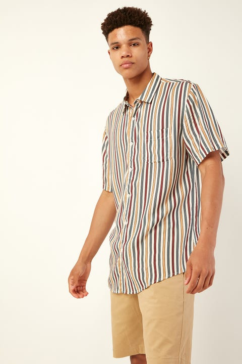COMMON NEED Jazz Vertical Stripe Shirt Ecru/Navy/Gold/Red