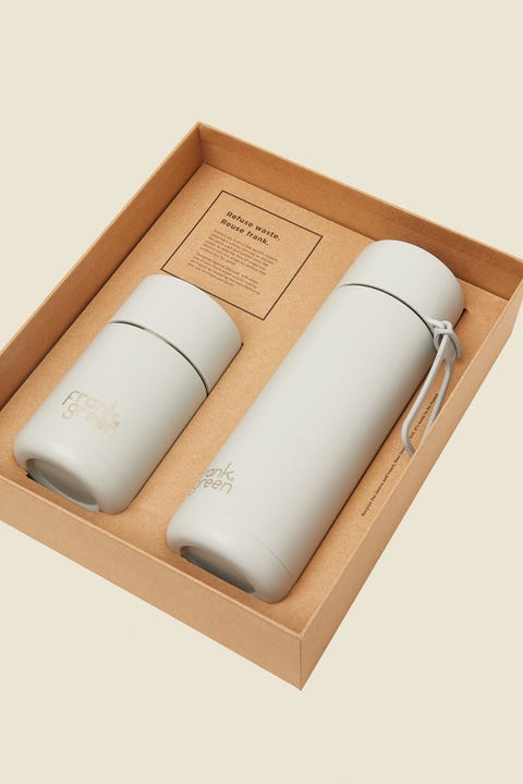 FRANK GREEN Ceramic Cup & Bottle With Straw Lid Gift Set Harbour Mist