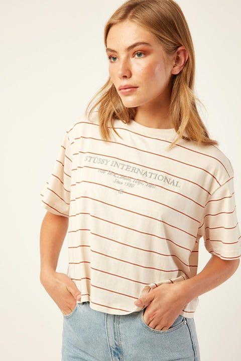 STUSSY Lewin Boxy Tee Sand Stripe