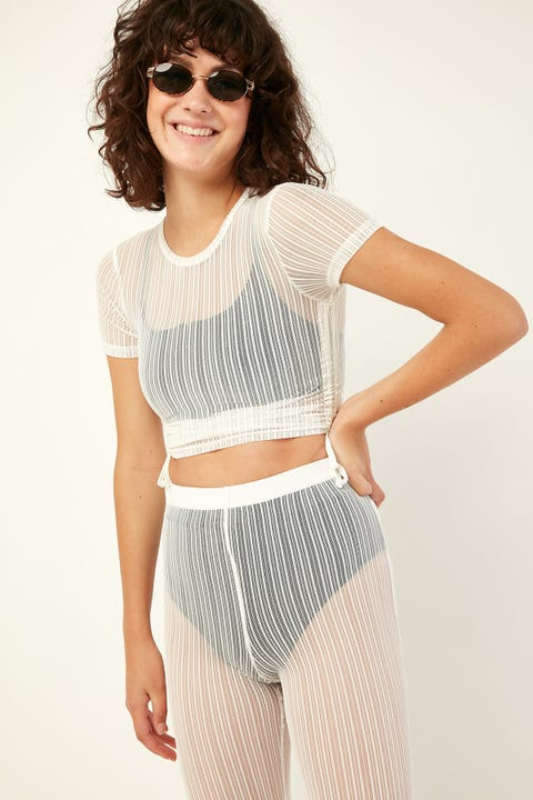 LUCK & TROUBLE Cinch Mesh Top White