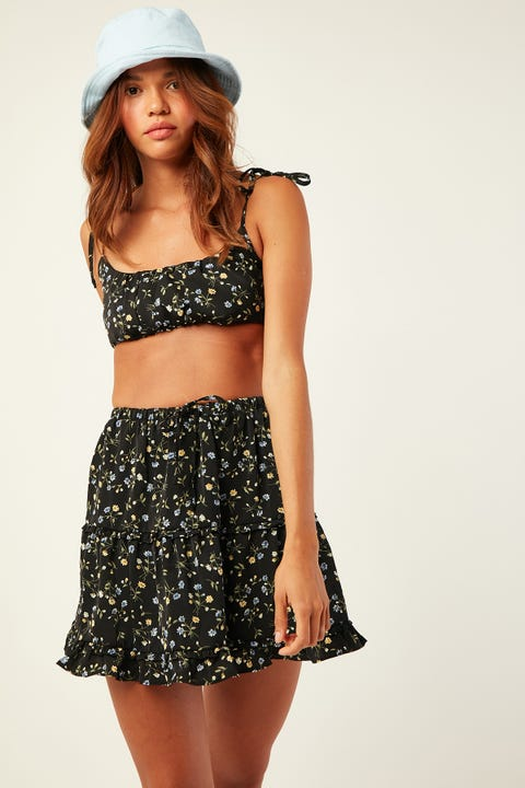 LUCK & TROUBLE Let It Go Skirt Black Print