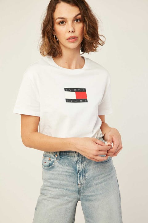 TOMMY JEANS Tommy Flag Tee White