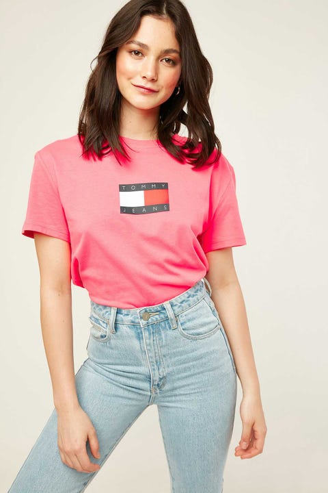 Tommy Jeans Tommy Flag Tee Glamour Pink
