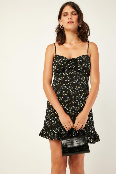 LUCK & TROUBLE Lustful Floral Mini Dress Black Print