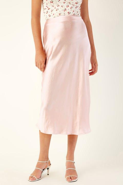 PERFECT STRANGER Glimmer Midi Skirt Pink