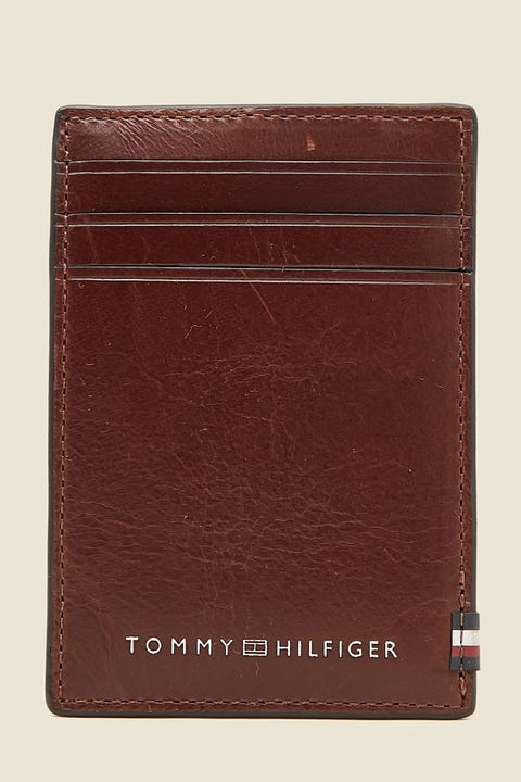 TOMMY JEANS Polished Leather Vertical CC Holder Brown