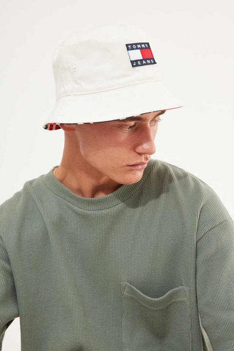 TOMMY JEANS Heritage Reversible Bucket White Print Mix