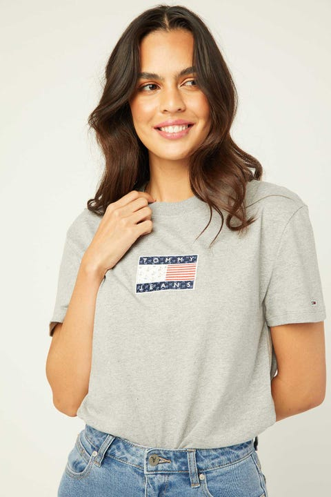 Tommy Jeans Star Americana Flag Tee Grey Heather