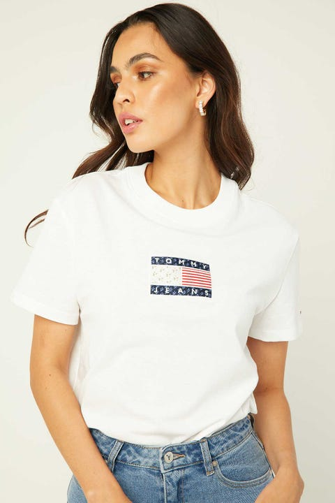 TOMMY JEANS Star America Flag Tee White