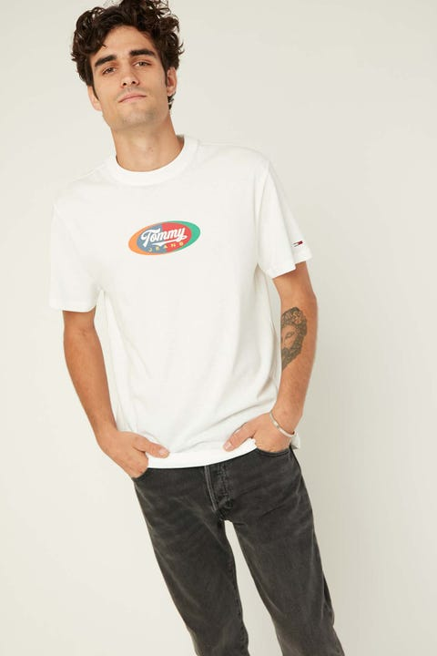 TOMMY JEANS TJM Oval Multicolor Tee White