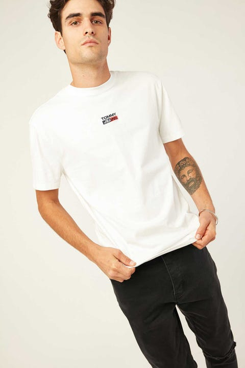 TOMMY JEANS TJM Small Centered Logo Tee White