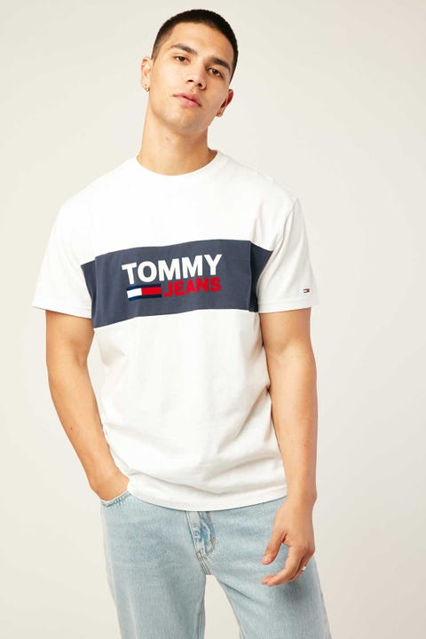 TOMMY JEANS TJM Pieced Band Logo Tee White