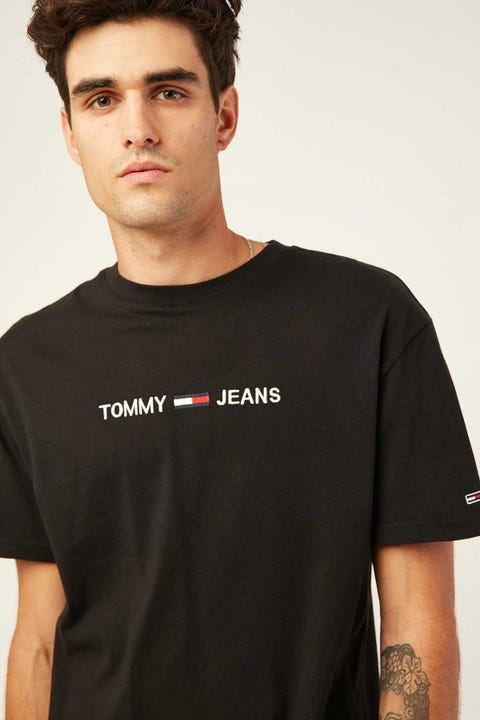 TOMMY JEANS TJM Straight Logo Tee Black