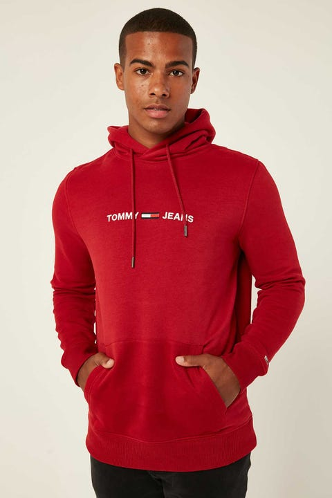 Tommy Jeans TJM Straight Logo Hoodie Wine Red