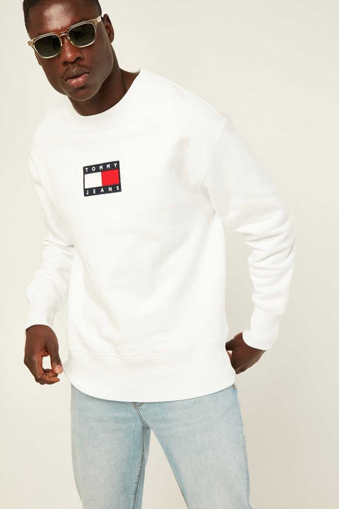 TOMMY JEANS TJM Small Flag Crew White