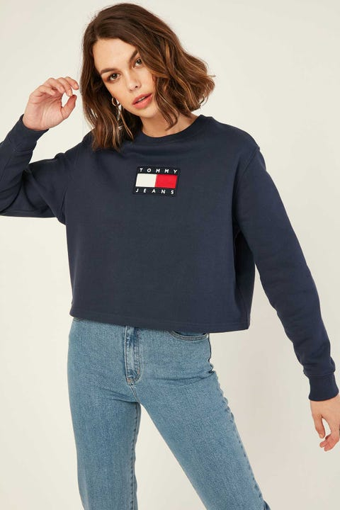 TOMMY JEANS Tommy Flag Crew Twilight Navy