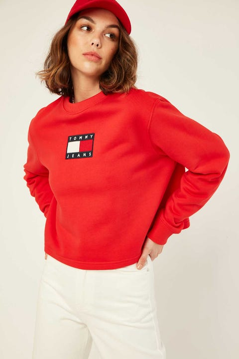 TOMMY JEANS Tommy Flag Crew Deep Crimson