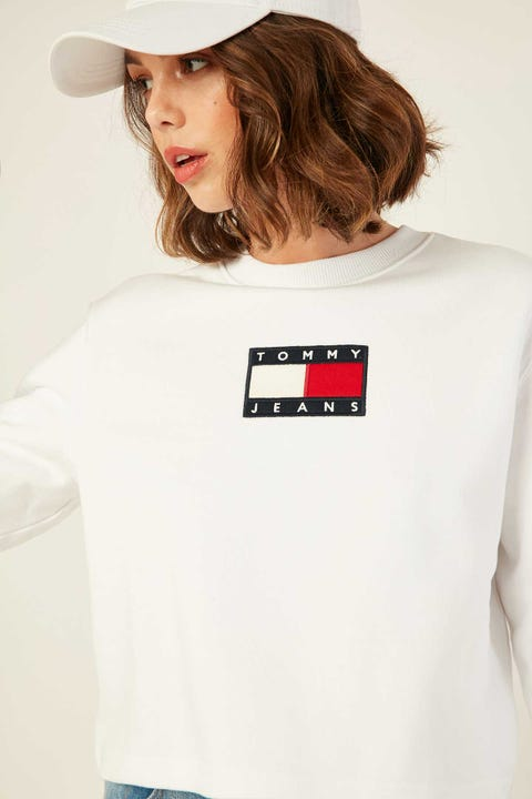 TOMMY JEANS Tommy Flag Crew White