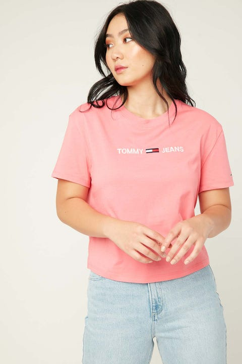 Tommy Jeans Modern Linear Logo Tee Glamour Pink