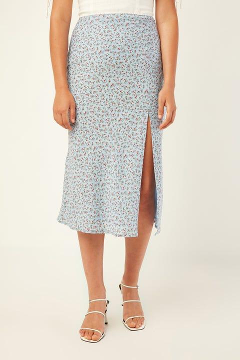PERFECT STRANGER Collide Midi Skirt Blue Print