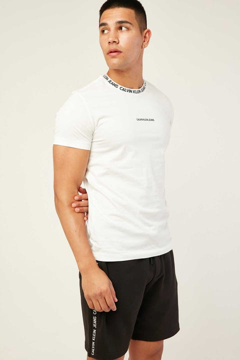 CALVIN KLEIN Institutional Collar Logo Tee Bright White