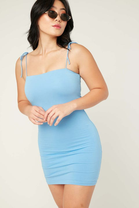 L&T Belle Tie Shoulder Dress Blue
