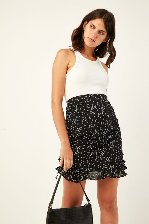 PERFECT STRANGER Gorgeous Rouche Mini Skirt Black Print