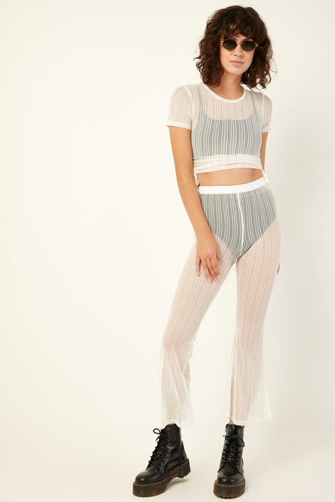LUCK & TROUBLE Mesh Flares White