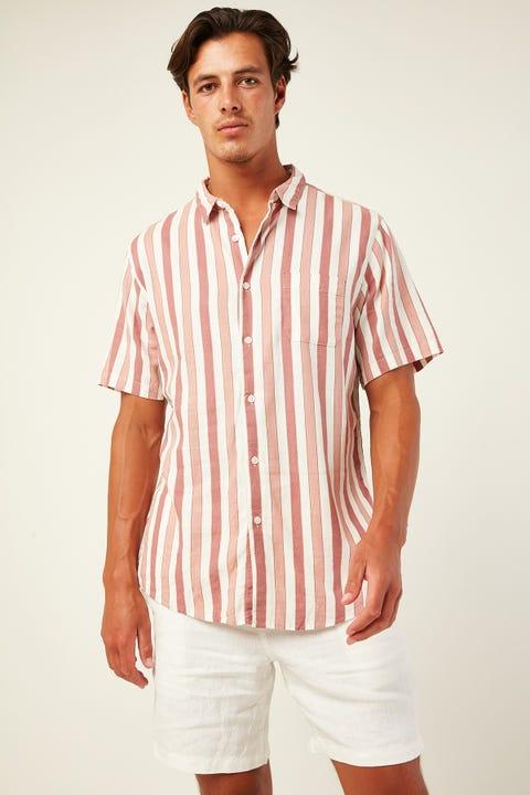 COMMON NEED Villa Soft Linen Stripe Shirt Rose