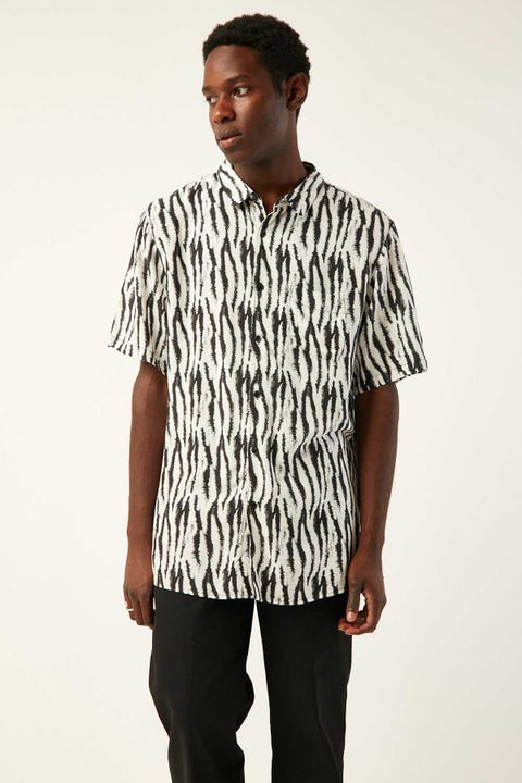 COMMON NEED Bengal Tiger Party Shirt Black/White