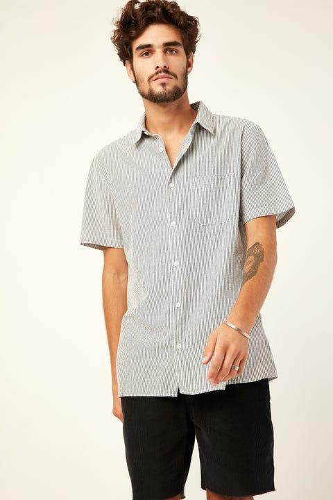 COMMON NEED Seersucker Stripe Shirt Black/White