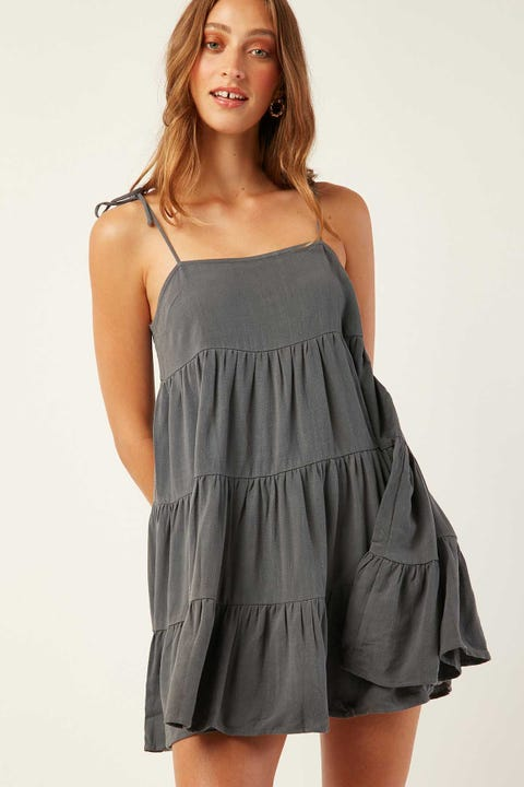 LUCK & TROUBLE Seaside Tie Shoulder Dress Charcoal