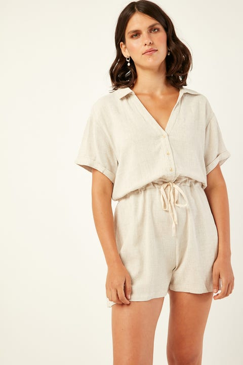 PERFECT STRANGER Low Key Linen Playsuit Oatmeal