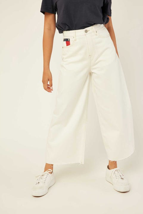 TOMMY JEANS Meg Wide Leg Ankle Work White Rigid