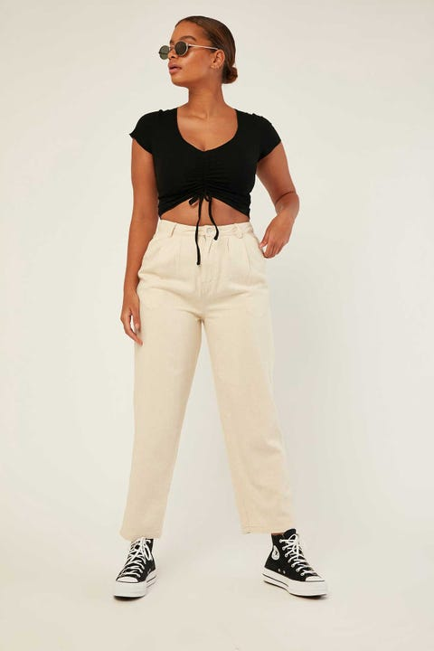 Perfect Stranger In Line Contrast Pant Cream
