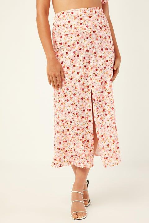 Perfect Stranger Botanica Midi Skirt Pink Print