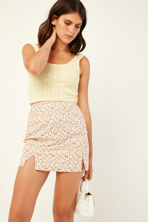 Perfect Stranger Lovers Boulevard Skirt White Print