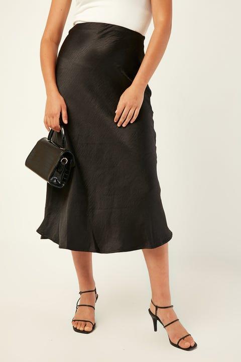 PERFECT STRANGER Glimmer Midi Skirt Black