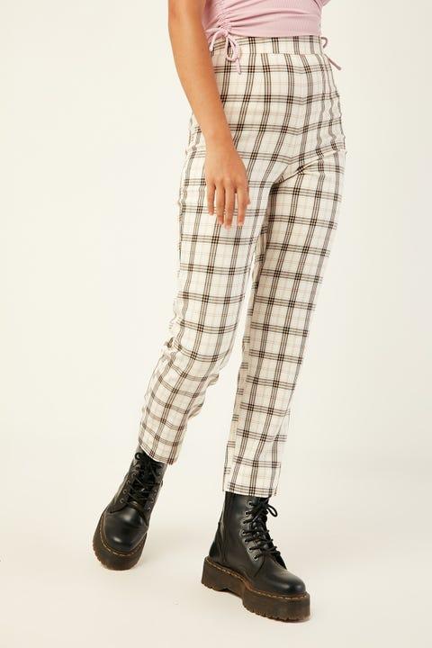 LUCK & TROUBLE Dede Check Pants Cream Print