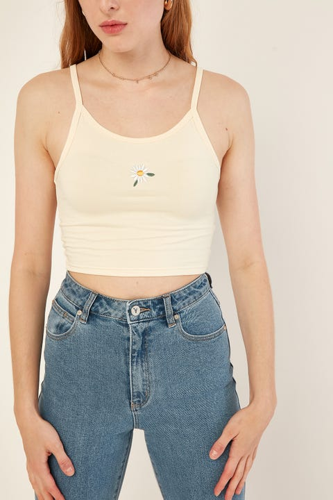 L&T Embroidered Crop Cream