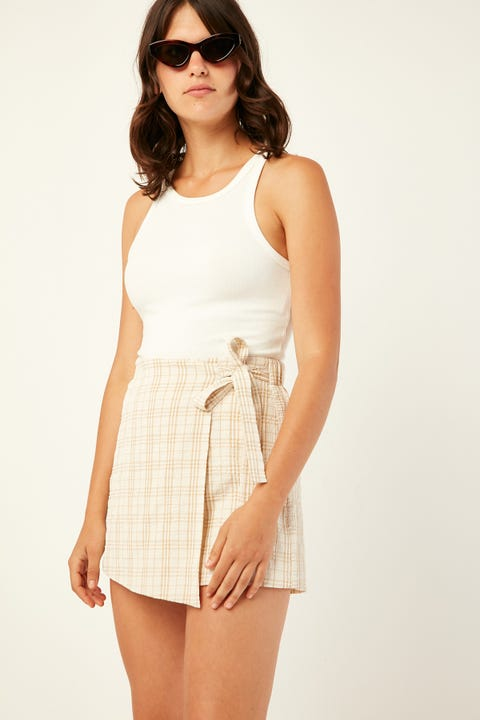 Luck & Trouble Checked Skort Cream Print