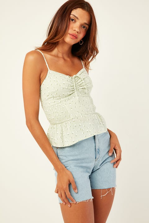 Luck & Trouble Wildflower Cami Green Print